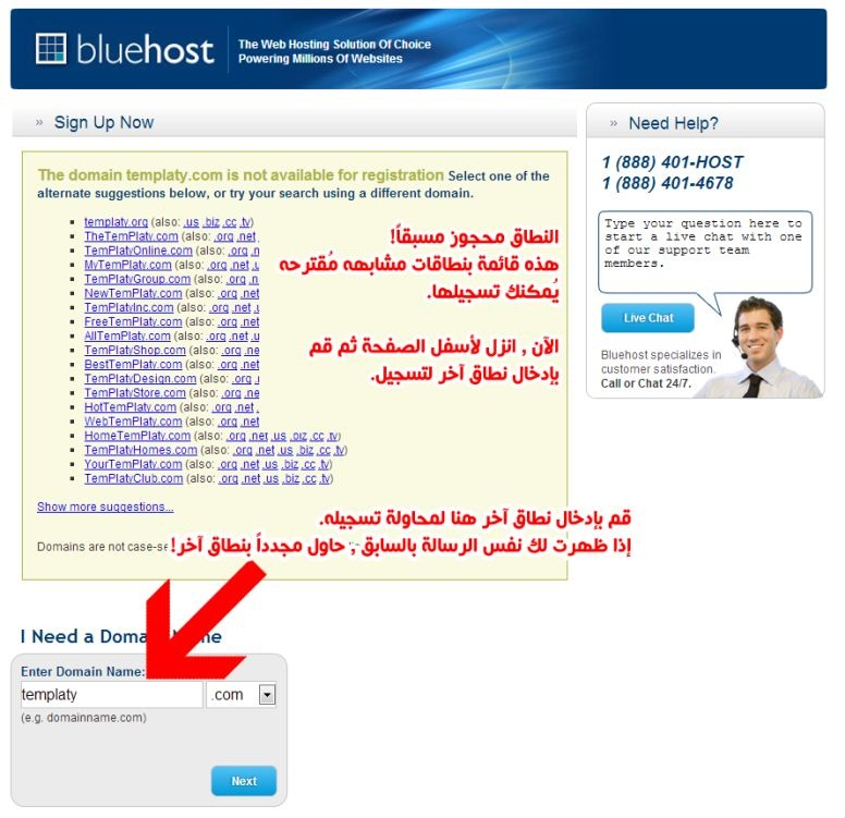 BlueHost new domain register