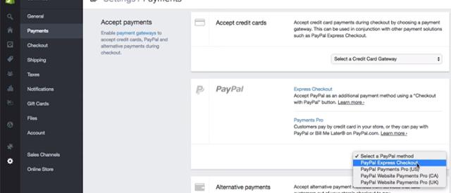 طريقة الدفع في متجر Shopify
