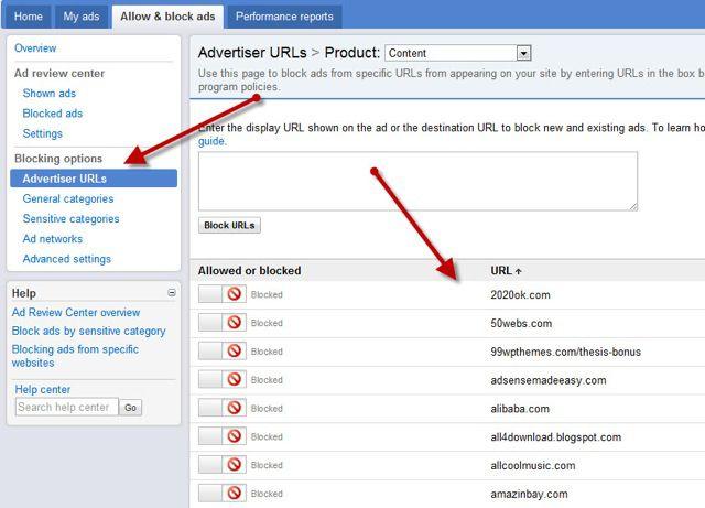 Adsense Blacklist URL's :