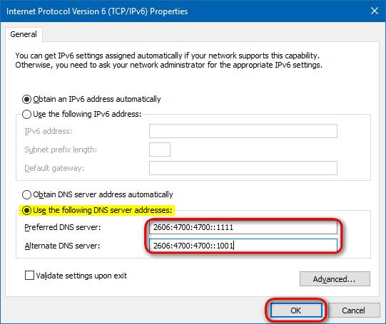 Cloudflare-DNS-IPv6-Windows-10