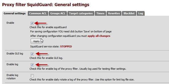Configuring SquidGuard Filtering