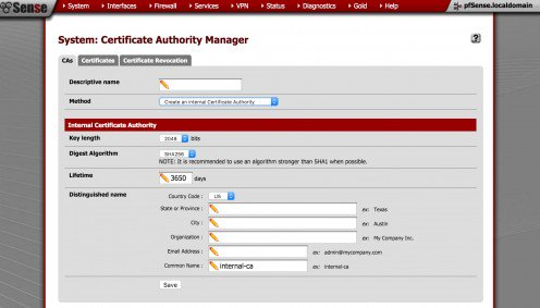 Creating a new certificate authority in pfSense.