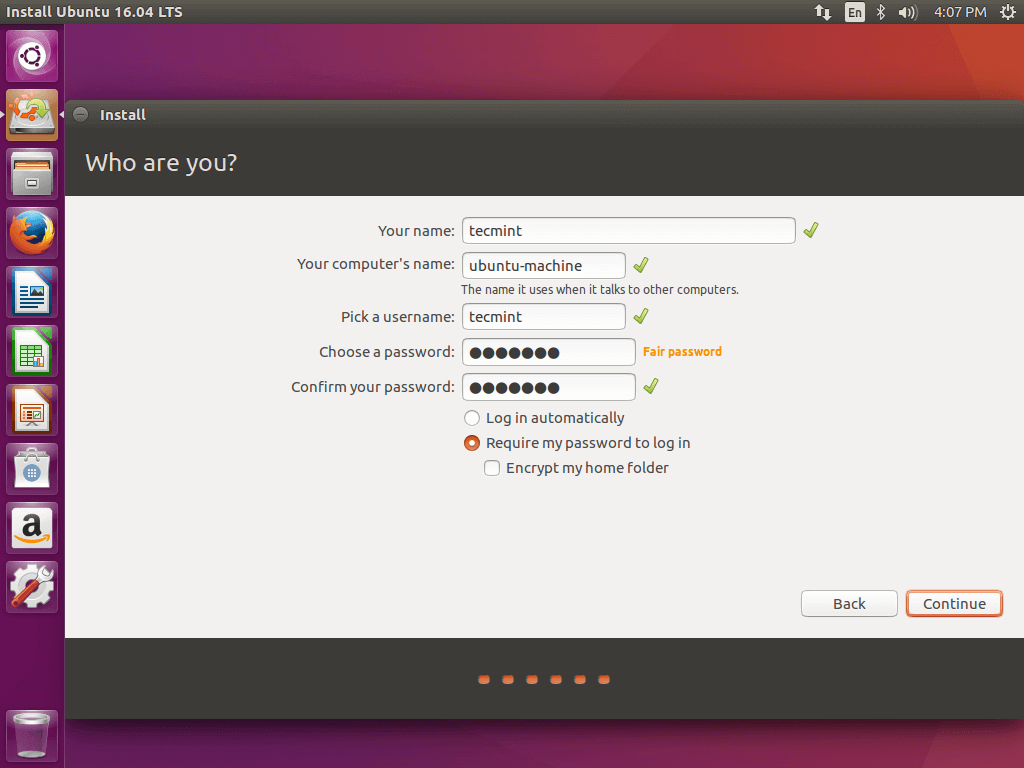 Create User Account for Ubuntu 16.04