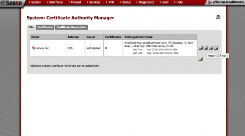 Exporting the CA certificate from the pfSense certificate authority manager.
