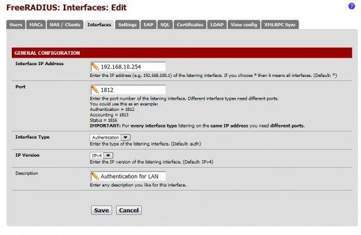 تكوين Interface في راديوس pfsense