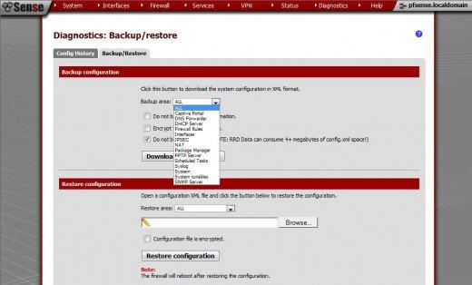 ackup and Restore Configurations in pfSense