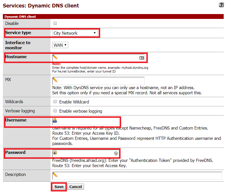Services > Dynamic DNS