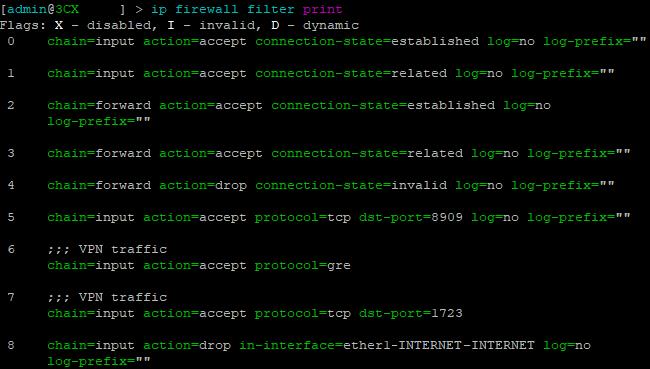 ip firewall filter print