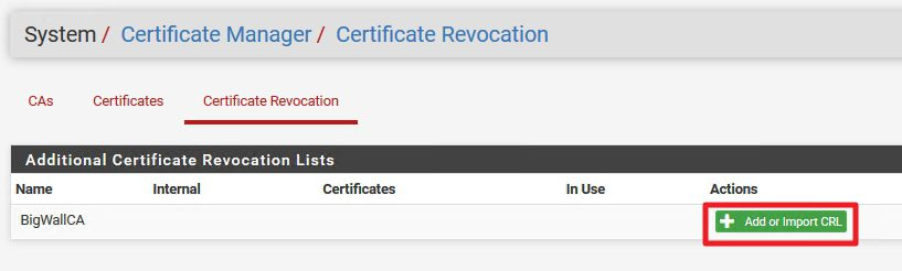 Certificate Revocation |+ Add or Import CRL
