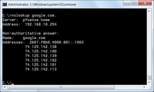 DNS forwarder using nslookup.