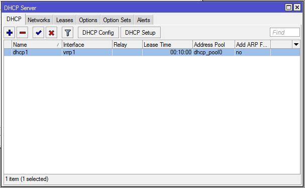 MikroTik VRRP DHCP Server