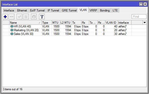 VLAN interface list