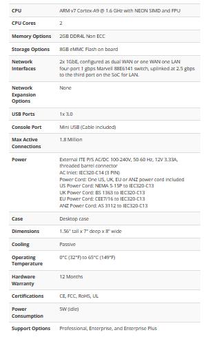 SG-3100 Firewall Appliance سلسة أجهزة pfsense المواصفات