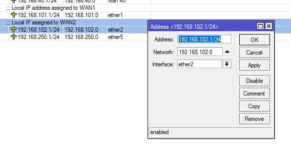 إعطاء اتصال WAN (أي ether2) عنوان IP