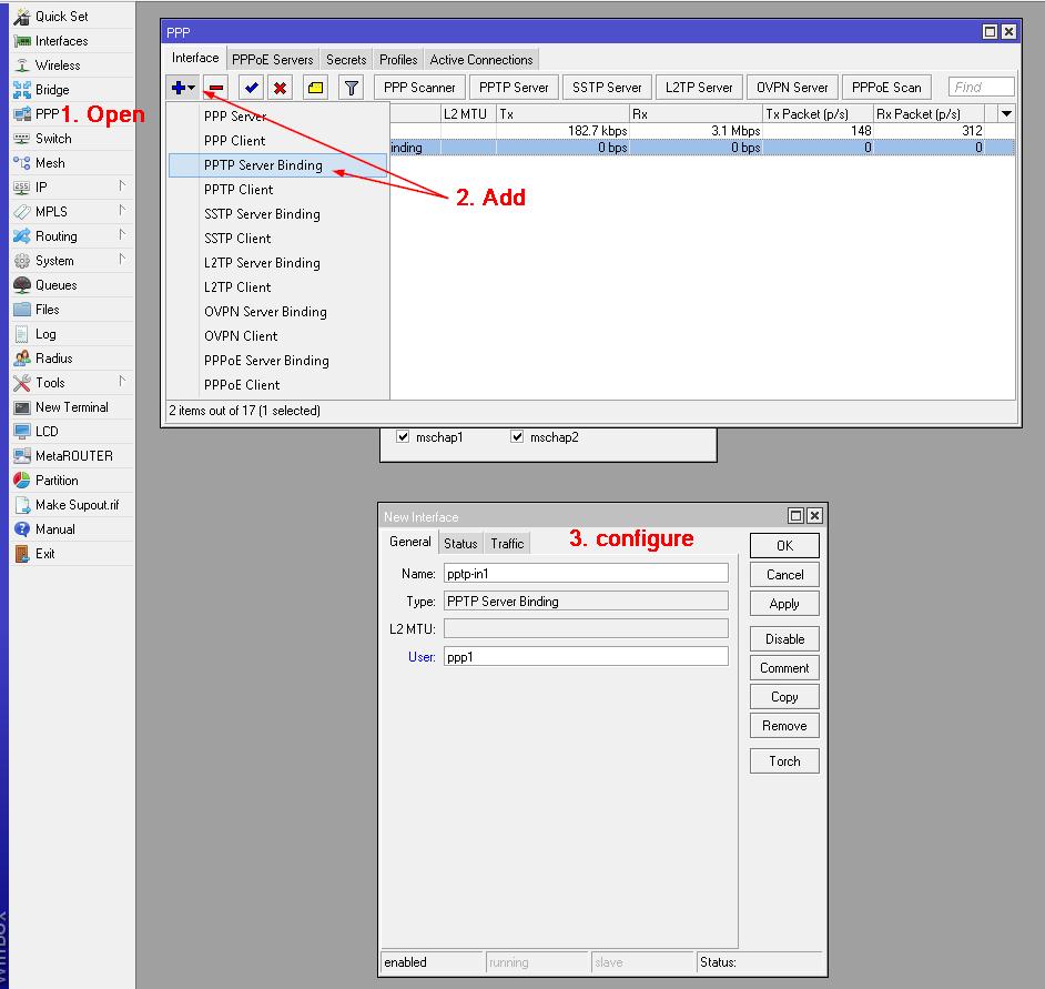 Create PPTP Server Binding