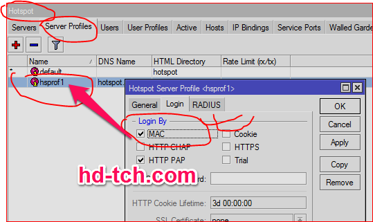 دخول المستخدم تلقائي بواسطة MAC وإعادة التوجيه باستخدام Radius Manager