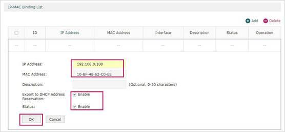Add IP-MAC Binding List Entry Manually