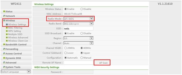 تكوين الوضع AP + WDS على أجهزة التوجيه اللاسلكية Netis