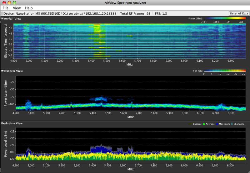 استخدام airView للعثور على أفضل قناة بعيدا عن التشويش والضوضاء لاجهة AirMax